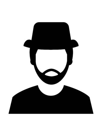 Simple Hand Drawn Outline Silhouette Illustration of a Fishermans Face with Hat