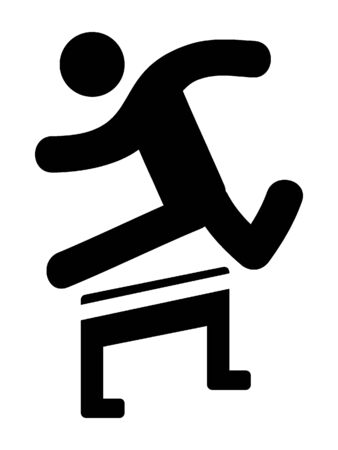 Simplified Black Silhouette Icon of a Hurdles Racer Illustration