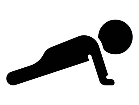 Simplified Black Silhouette Icon for Push-ups