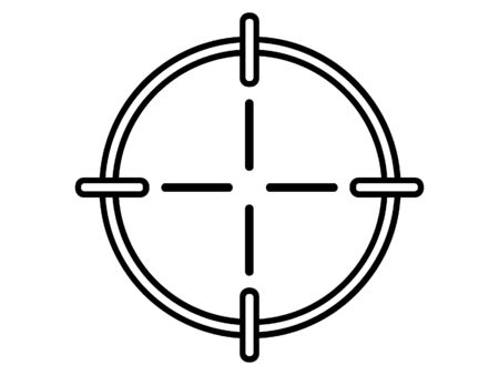 Simplified Black Silhouette Icon of a Cross-hair