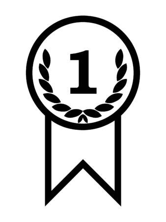 Simplified Black Silhouette Icon of a First Prize Honor Ribbon