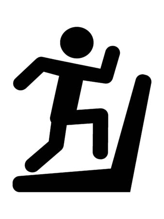 Simplified Black Silhouette Icon of a Treadmill Runner