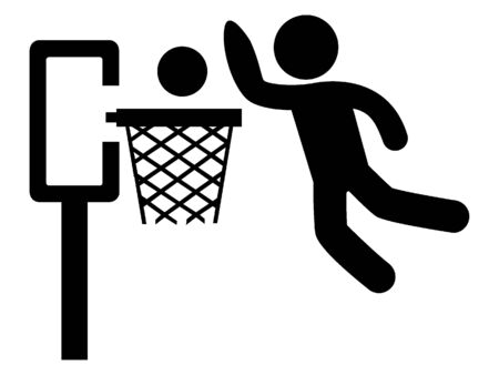 Simplified Black and White Silhouette Icon of a Basketball Dunk 版權商用圖片 - 135251643