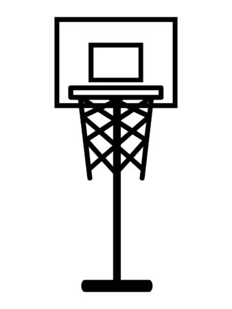 Simplified Black and White Silhouette Icon of a Basketball Hoops
