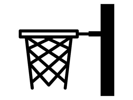 Simplified Black and White Silhouette Icon of a Basketball Hoops Banque d'images - 135251631