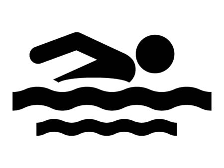 Simplified Black Silhouette Icon of a Swimmer