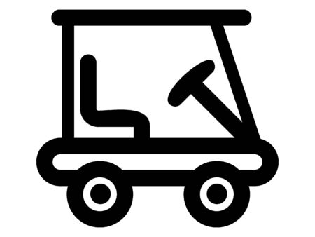 Simplified Black Silhouette Icon of a Golf Cart