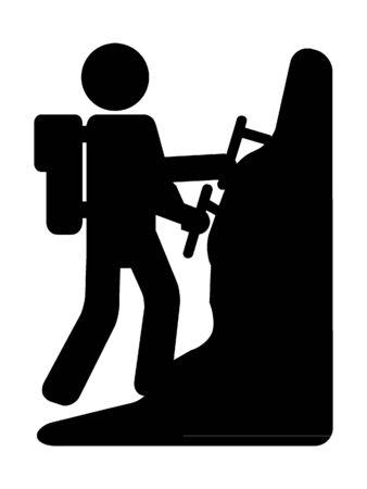 Simplified Black Silhouette Icon of a Rock Climber Ilustração