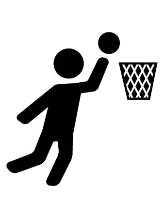 Simplified Black Silhouette Icon of a Basketball Player Banque d'images - 135458591