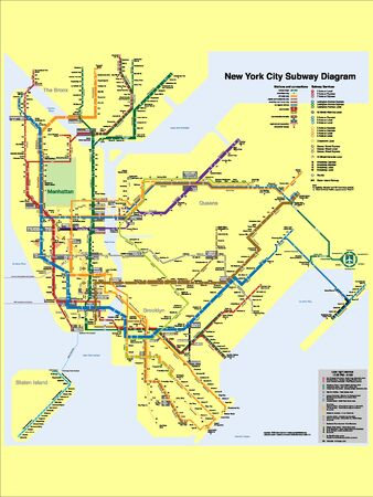 New York City Detailed Subway Metro Stations Diagram Map with Labels