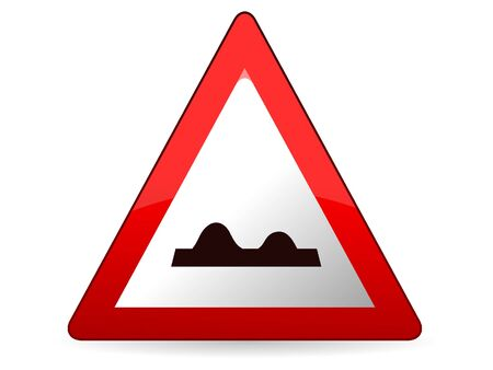 3D Vector Illustration of a Traffic Sign for a Bumpy road Warning