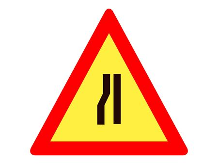 Vector Illustration of a Traffic Sign for a Road narrows on right Warning