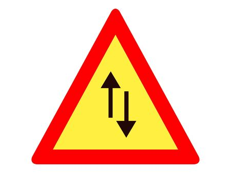 Vector Illustration of a Traffic Sign for a Traffic in Both Directions Warning Stock Illustratie