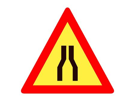 Vector Illustration of a Traffic Sign for a Road narrows (both sides) Warning