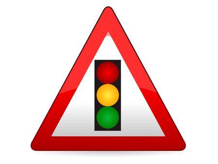 3D Vector Illustration of a Traffic Sign for a Vertical traffic light Warning