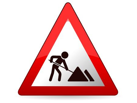 3D Vector Illustration of a Traffic Sign for Roadworks Warning