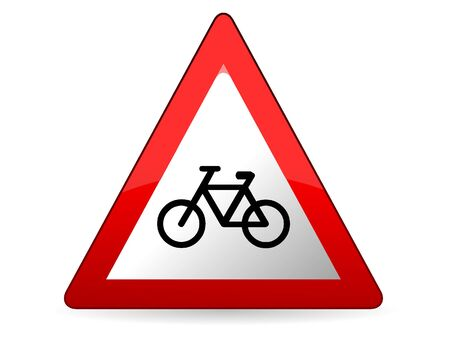 Vector Illustration of a 3D Traffic Sign for a Bicycle traffic ahead Warning Stock Illustratie