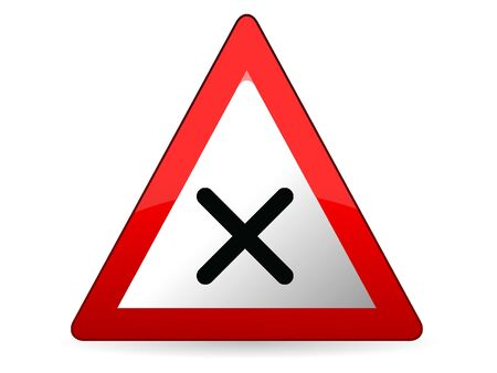Vector Illustration of a 3D Traffic Sign for a Intersection with right-priority rule Warning
