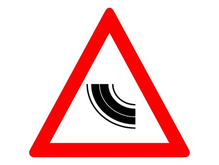 Vector Illustration of a Traffic Sign for a Curve Warning Stock Illustratie