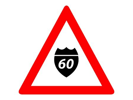 Vector Illustration of a Traffic Sign for an Interstate Highway Numeration Warning