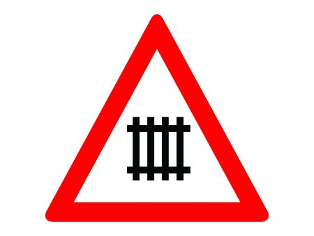 Vector Illustration of a Traffic Sign for a Gated level crossing Warning Stock Illustratie