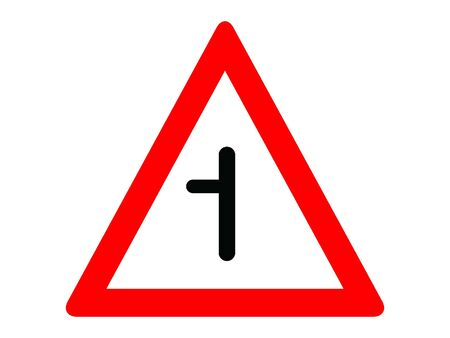 Vector Illustration of a Traffic Sign for a Intersection on a priority road with a non-priority road from left Stock Illustratie