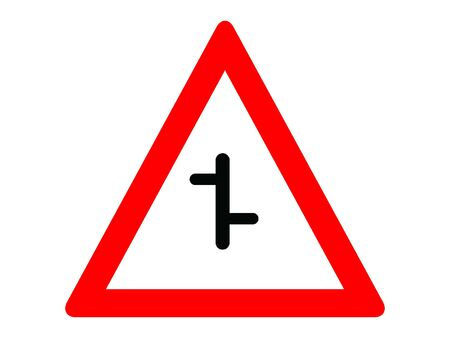 Vector Illustration of a Traffic Sign for a Intersection on a priority road with a non-priority road Warning