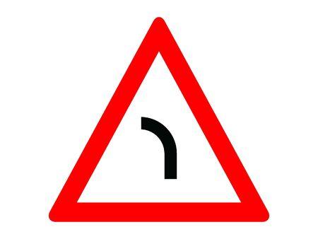 Vector Illustration of a Traffic Sign for a Left curve Warning Stock Illustratie