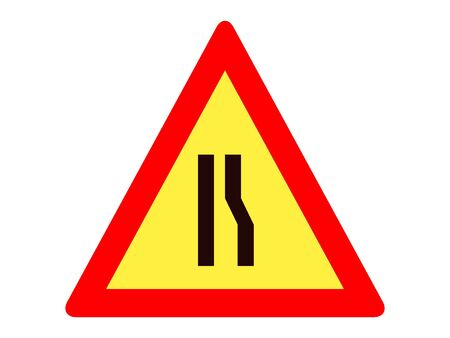 Vector Illustration of a Traffic Sign for a Road narrows on left Warning