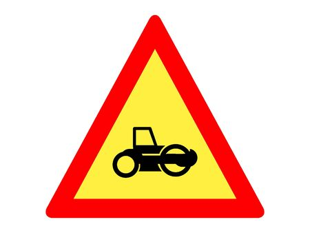 Vector Illustration of a Traffic Sign for Roadworks ahead Warning
