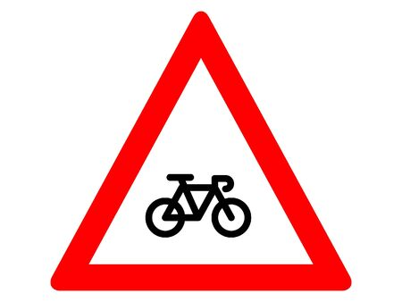 Vector Illustration of a Traffic Sign for a Bicycle traffic ahead Warning