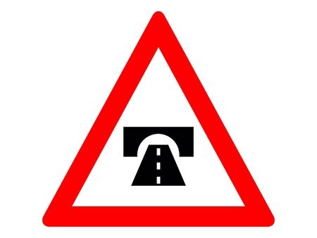 Vector Illustration of a Traffic Sign for a Tunnel ahead Warning