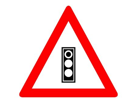 Vector Illustration of a Traffic Sign for a Traffic light ahead Warning
