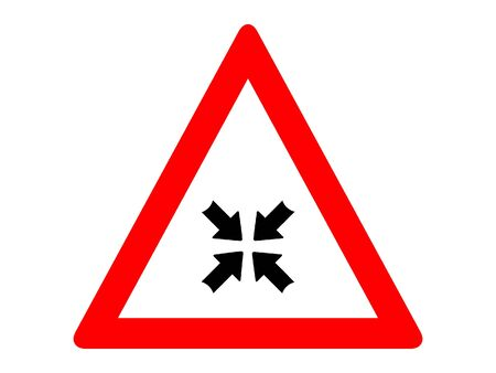 Vector Illustration of a Traffic Sign for a Road Merging Warning Stock Illustratie