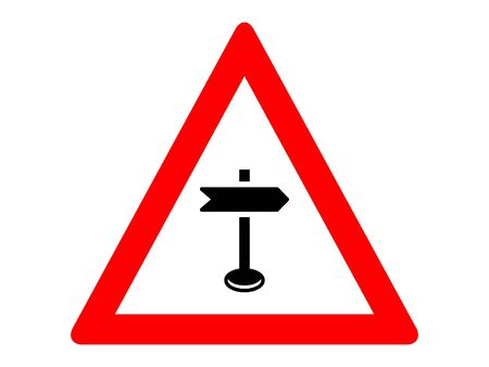 Vector Illustration of a Traffic Sign for a Road-sign ahead Warning Stock Illustratie