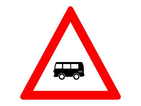 Vector Illustration of a Traffic Sign for a Bus Traffic Ahead Warning