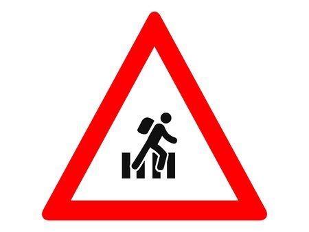 Vector Illustration of a Traffic Sign for a Pedestrian school crossing Warning