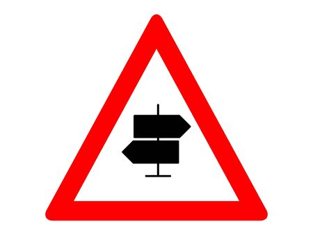 Vector Illustration of a Traffic Sign for a Crossroads Ahead Warning