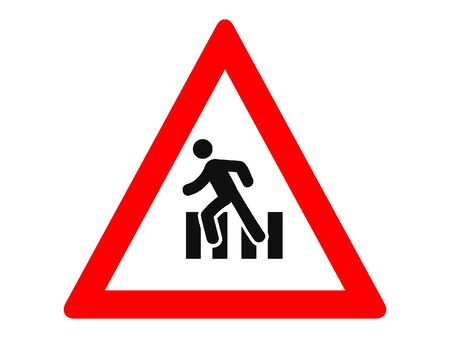 Vector Illustration of a Traffic Sign for a Pedestrian crossing Warning