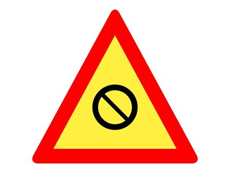 Vector Illustration of a Traffic Sign for a Closed Road Ahead Warning