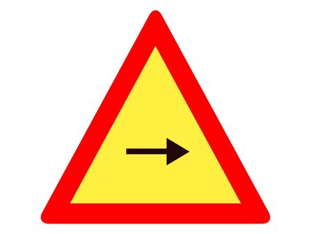 Vector Illustration of a Traffic Sign for a Right Turn Warning