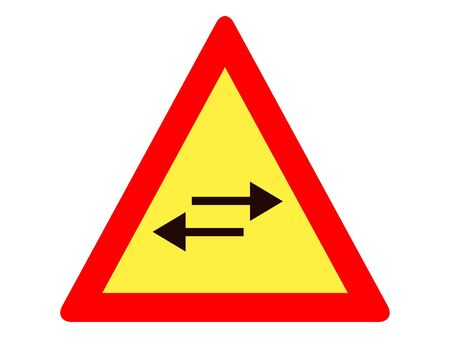 Vector Illustration of a Traffic Sign for a Both Ways Turn Warning Stock Illustratie