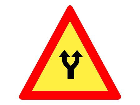 Vector Illustration of a Traffic Sign for a Fork Ahead Warning
