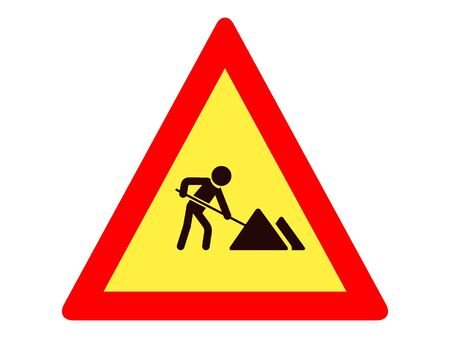 Vector Illustration of a Traffic Sign for a Road Works Warning
