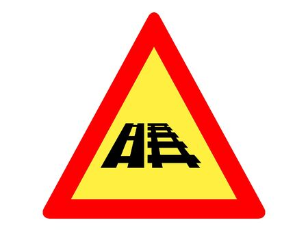 Vector Illustration of a Traffic Sign for a Parallel Road-Railroad Juncture Ahead Stock Illustratie
