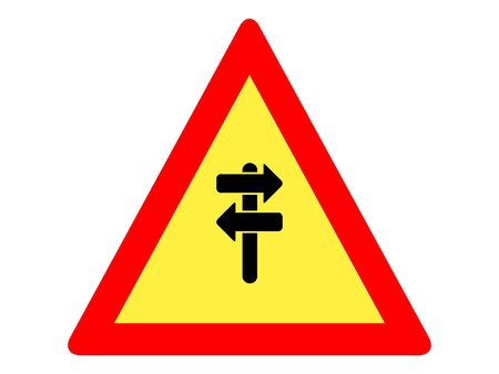 Vector Illustration of a Traffic Sign for a Road Sign Crossroads Ahead Warning Stock Illustratie
