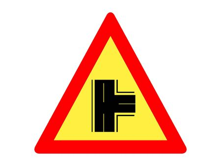 Vector Illustration of a Traffic Sign for a Intersection on a priority road with a non-priority road from right Warning