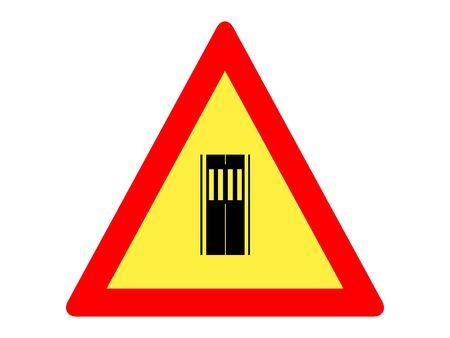 Vector Illustration of a Traffic Sign for a Pedestrian Crossing Warning Stock Illustratie