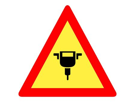Vector Illustration of a Traffic Sign for Road Works Ahead Warning Stock Illustratie