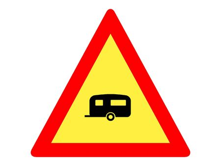 Vector Illustration of a Traffic Sign for a Trailers on the Road Warning